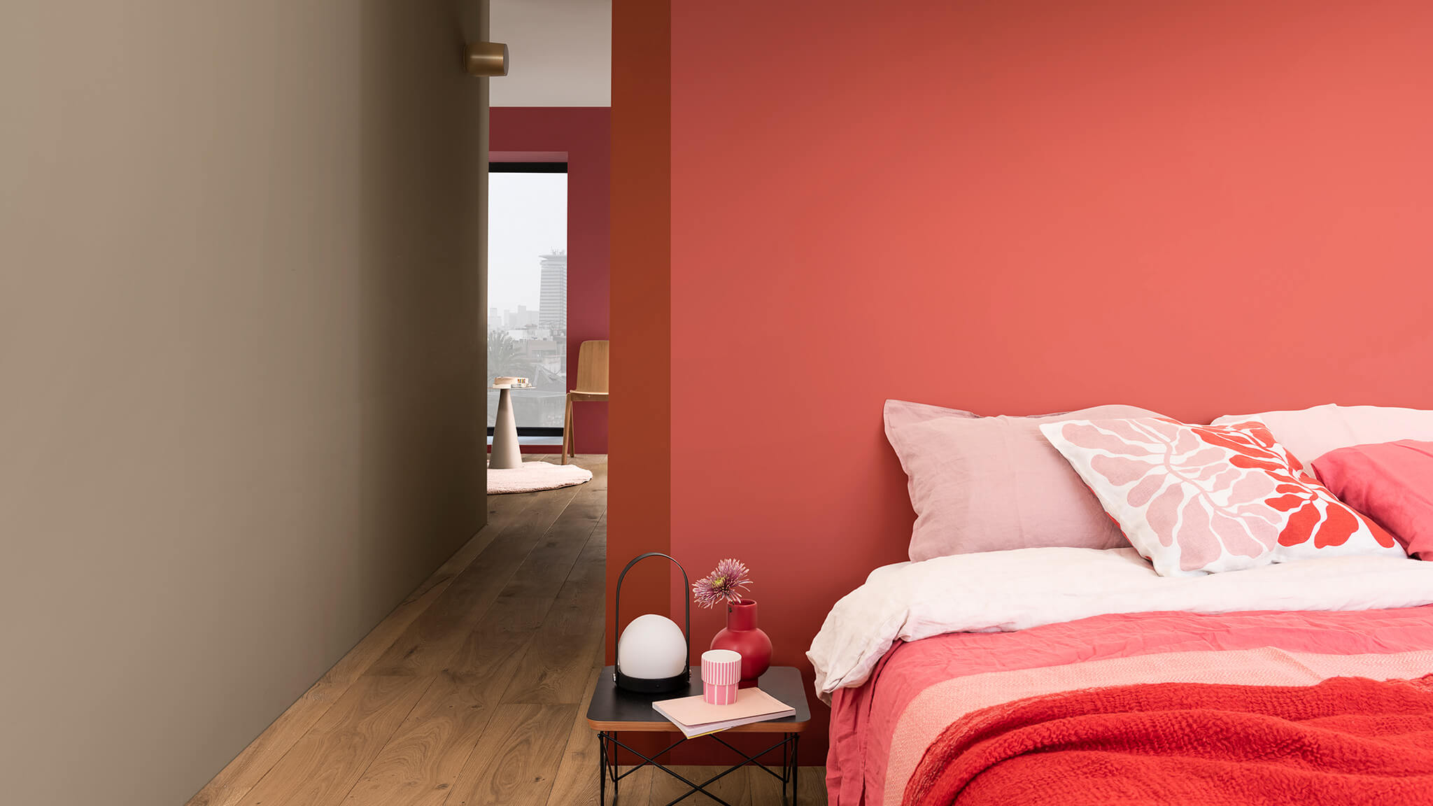 Colour of the Year 2021 with warm shades of red and pink
